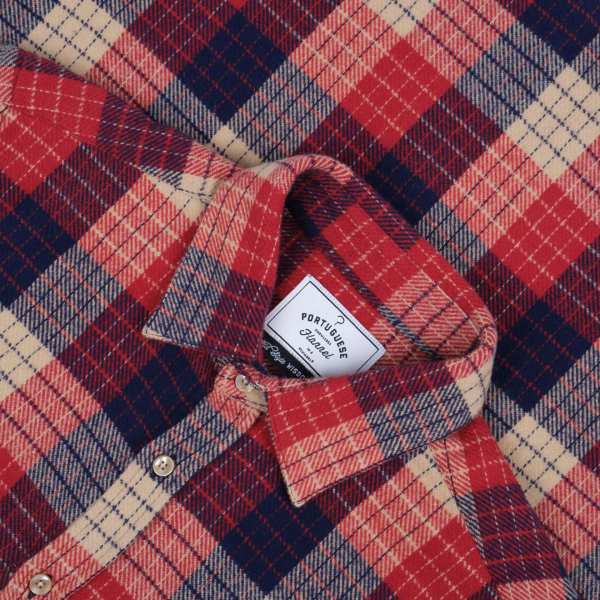 Portuguese Flannel Village Check Shirt Red/Navy/Ecru