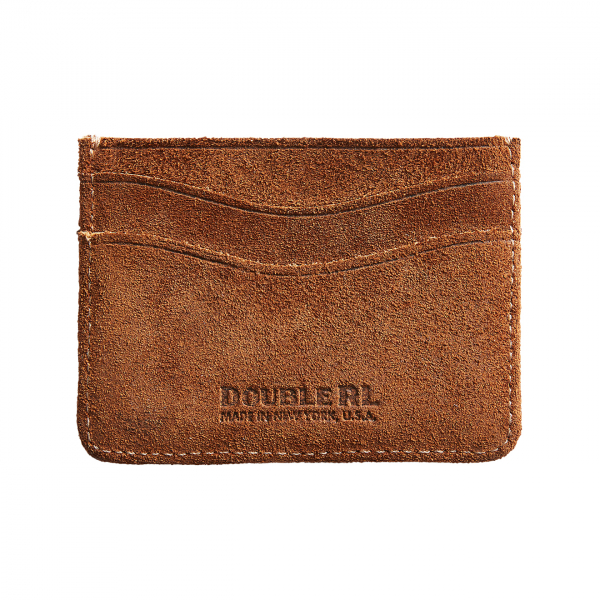 RRL by Ralph Lauren Roughout Suede Leather Cardholder Brown