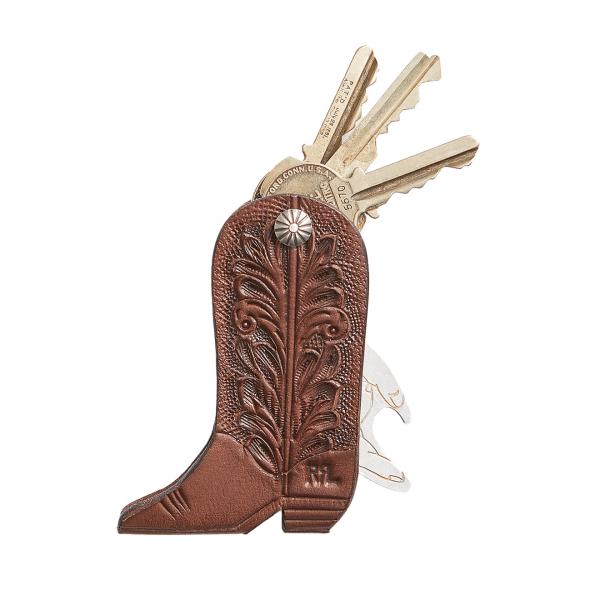 RRL by Ralph Lauren Cowboy Boot Key Fob Brown / Sterling
