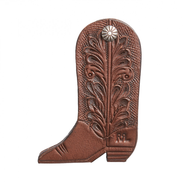 RRL by Ralph Lauren Cowboy Boot Key Fob Brown / Sterling