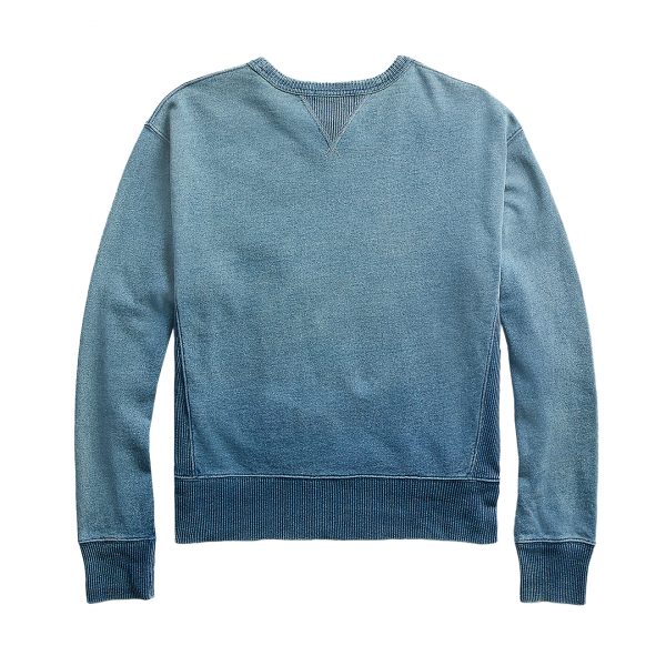 RRL by Ralph Lauren L/S Double V Hood Sweater Washed Blue Indigo