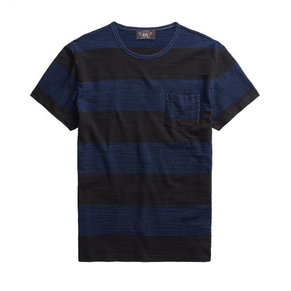 RRL by Ralph Lauren S/S Textured Stripe Tee Indigo Stripe