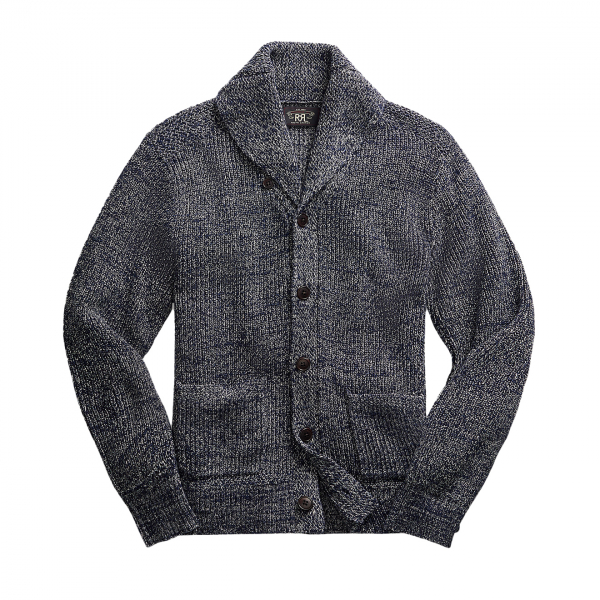 RRL by Ralph Lauren Shawl Cardigan Knitwear Dark Navy Marl