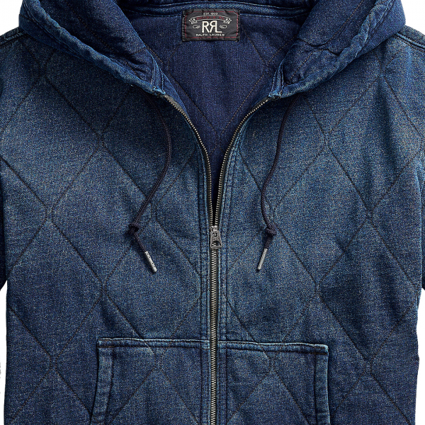 RRL by Ralph Lauren Quilted Full Zip Hooded Sweat Vintage Fit Indigo Blue