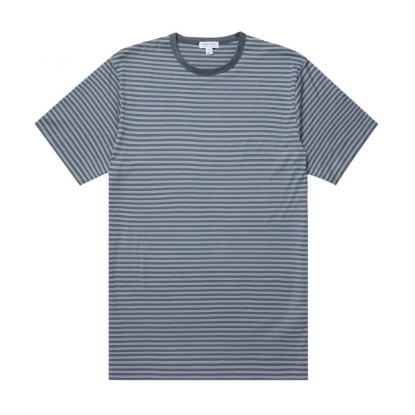 Sunspel Classic Crew T-Shirt Blue Slate/Blue Steel English Stripe
