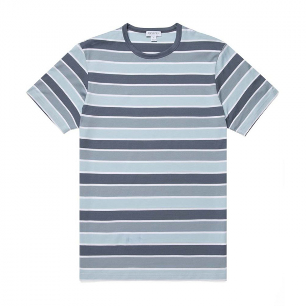 Sunspel Classic Crew T-Shirt Blue Slate/Blue Steel/Ice/White Three Colour Stripe