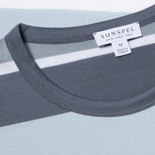 Sunspel Colour Block Crew Neck T-Shirt Blue Slate/Blue Steel/Ice