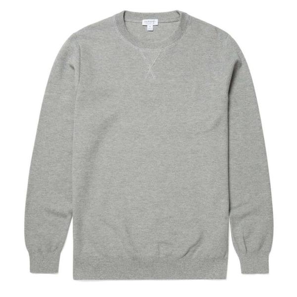 Sunspel Lambswool Crew Neck Knit Grey Mouline