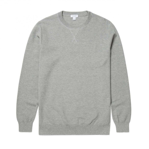 Sunspel Lambswool Crew Neck Knit Grey Mouline
