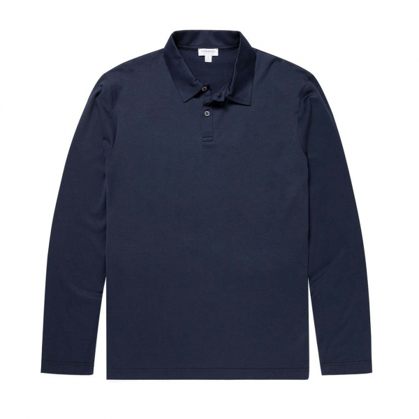 Sunspel Long Sleeve Polo Navy
