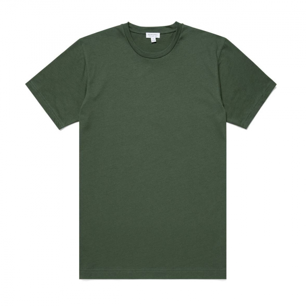 Sunspel Riviera Crew Neck T-Shirt Pine Melange