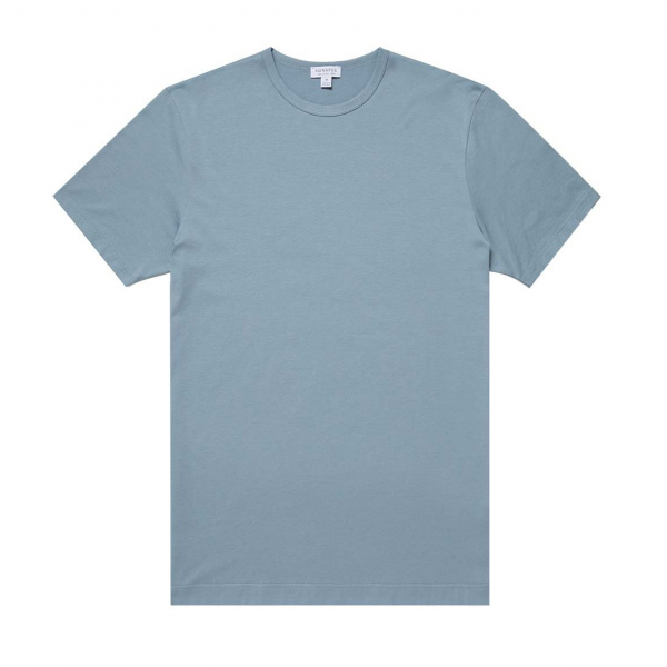 Sunspel Short Sleeve Classic Crew Neck T-Shirt Blue Steel