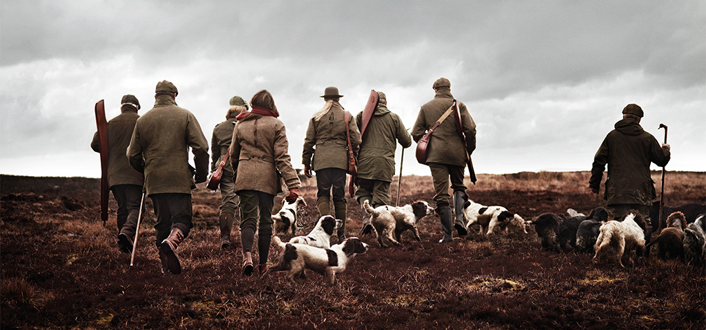 The Glorious Twelfth Group With Hunting Dogs Out Hunting on the Moors