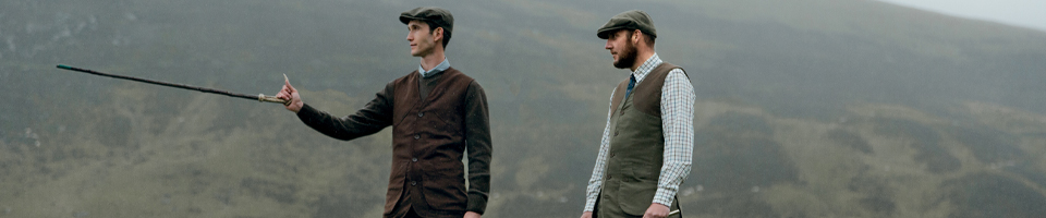 Two Country Gents Wearing Traditional Tweed Gilets