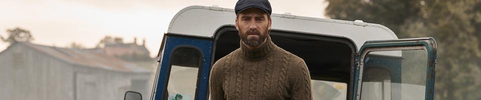 Country Gent Wearing Brown Woollen Knitwear Jumper and Cap