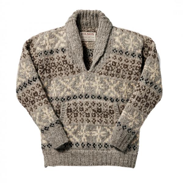 Filson Fair Isle Hand-Knit Pullover Heather Gray Tan