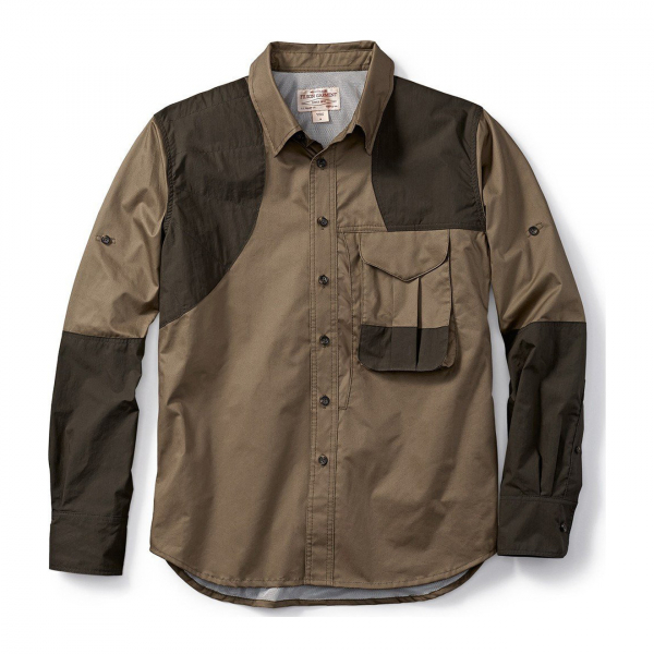 Filson Frontloading Right-Handed Shooting Shirt Dark Tan Dark Olive