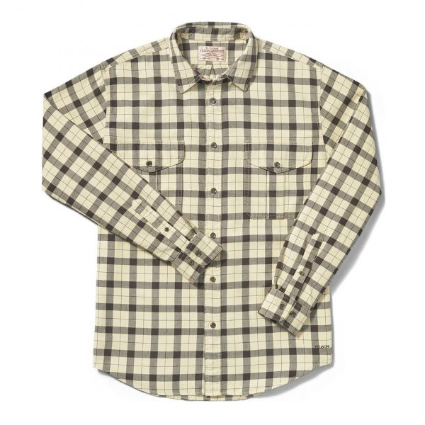 Filson Lightweight Alaskan Guide Shirt Cream / Deep Brown