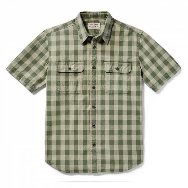 Filson Lightweight Short Sleeve Kitsap Work Shirt Olive Khaki Check