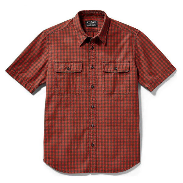 Filson Lightweight Short Sleeve Kitsap Work Shirt Red Gray Check