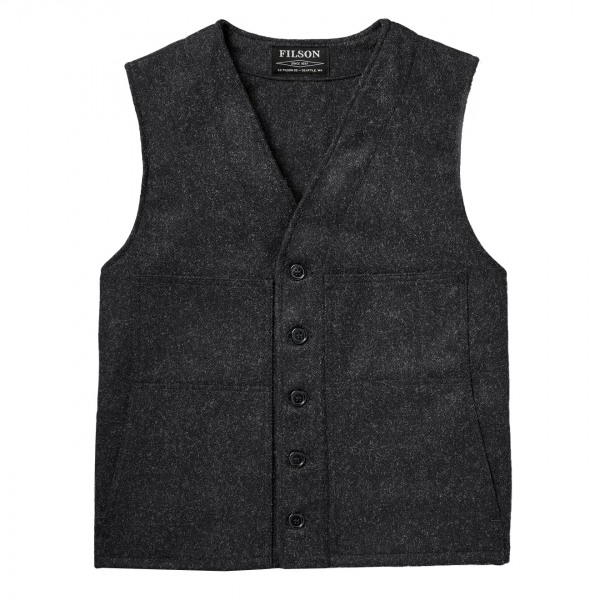 Filson Mackinaw Wool Vest Extra Long Charcoal
