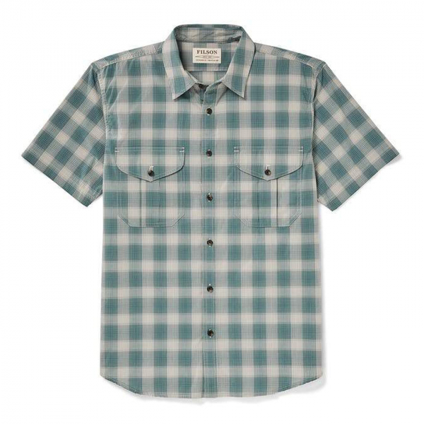 Filson Short Sleeve Feather Cloth Shirt Sand / Teal Plaid