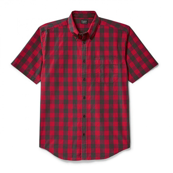 Filson Sutter Sport Short Sleeve Shirt Dark Brown/Scarlet