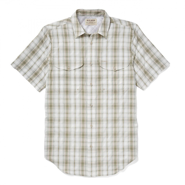 Filson Twin Lakes Short Sleeve Sport Shirt Cream/Khaki/Green