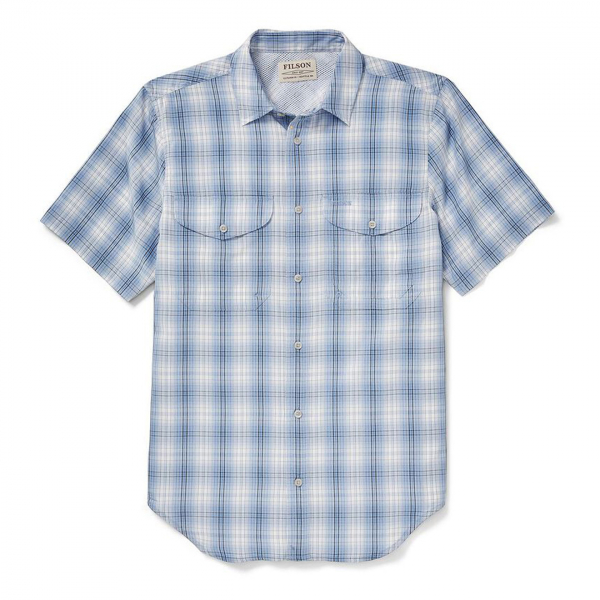Filson Twin Lakes Short Sleeve Sport Shirt Sky/Ivory/Navy