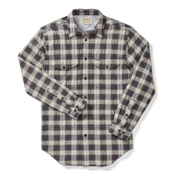 Filson Twin Lakes Sport Shirt Dk Brown/Ivory/Cobalt