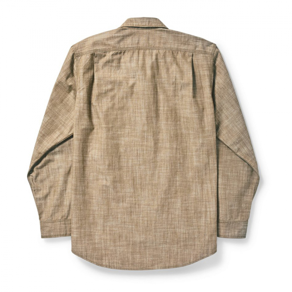 Filson Warden Chambray Work Shirt Brown Chambray