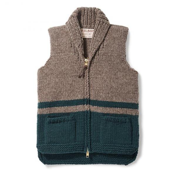 Filson Womens Blanket Stripe Hand-Knit Vest Gray Teal