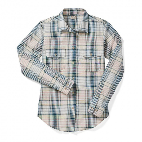 Filson Womens Conway Shirt Cream/Navy/Orchid