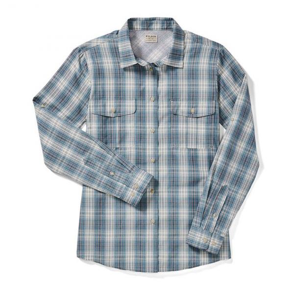 Filson Womens Lake Crescent Shirt Ivory/Teal/Orange