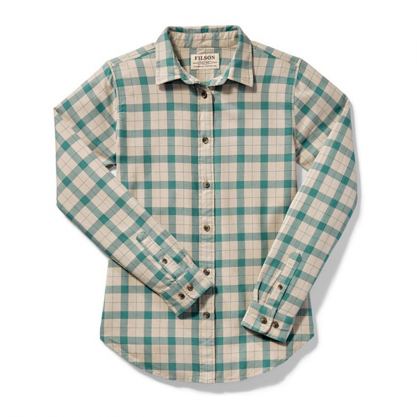 Filson Womens Lightweight Alaskan Guide Shirt Cream Turquoise Plaid