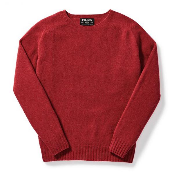Filson Womens Light Weight Geelong Crew Neck Sweater Red
