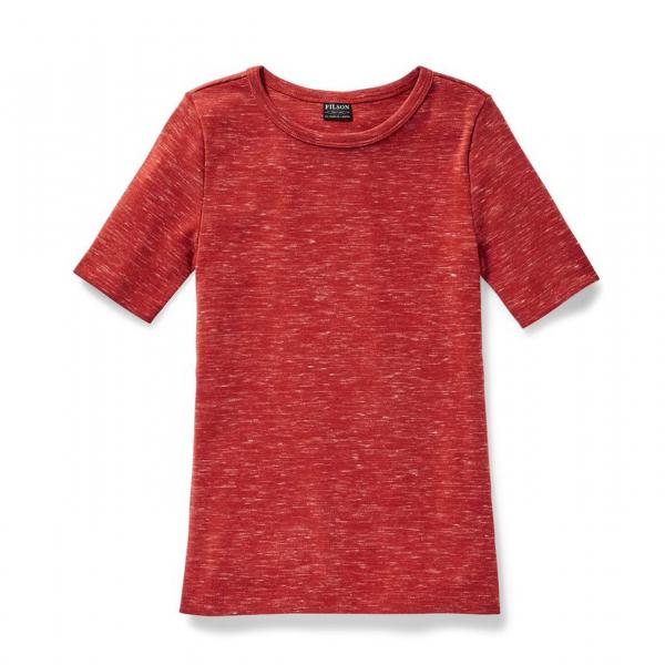 Filson Womens Neah Bay Crewneck Shirt Brick Heather