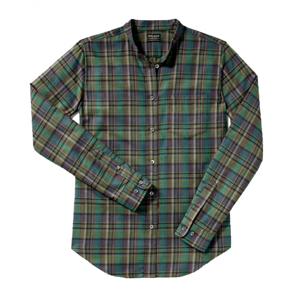 Filson Womens Shelton Banded Collar Shirt Green Brown