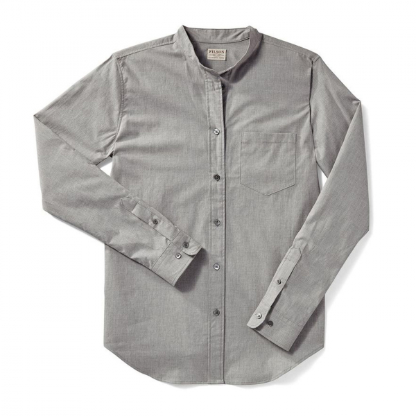 Filson Womens Shelton Banded Collar Shirt Heather Gray