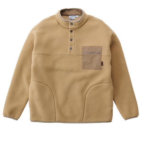 Gramicci Boa Fleece Pullover Half Button Beige