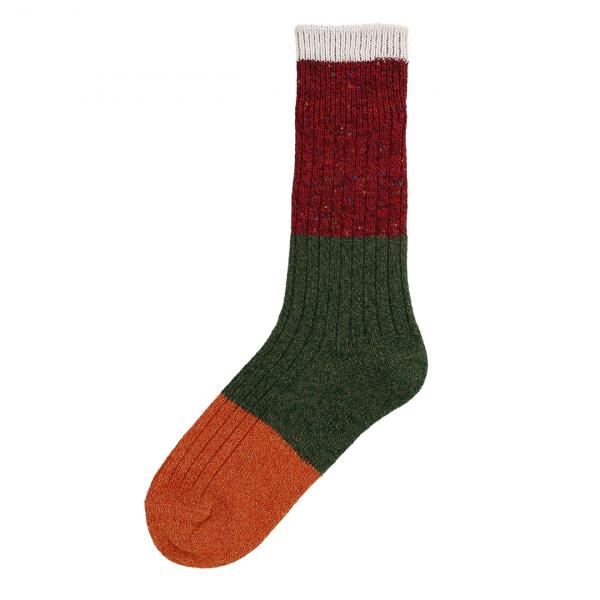 Patapaca Melange Tri Sock Orange / Green / Red