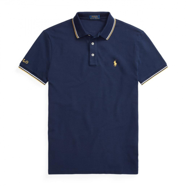 Polo Ralph Lauren Custom Slim Fit Mesh Polo Tipped Navy