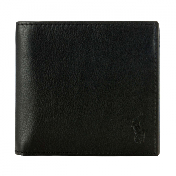 Polo Ralph Lauren Pebble Leather Billfold Wallet Black