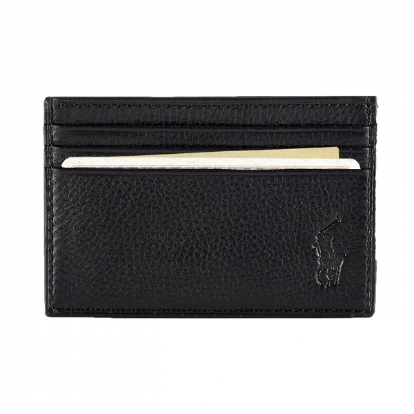Polo Ralph Lauren Pebble Leather Multi CC Credit Card Case Black