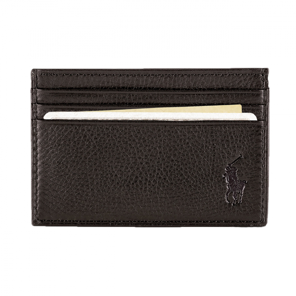 Polo Ralph Lauren Pebble Leather Multi CC Credit Card Case Brown