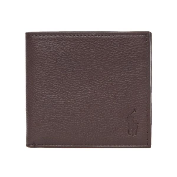 Polo Ralph Lauren Pebble Leather Billfold Wallet Brown