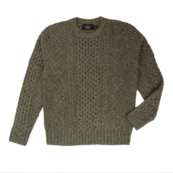 RRL by Ralph Lauren Aran Cable Knit Sweater Green Multi