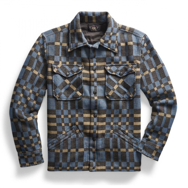 RRL by Ralph Lauren Blackbear Overshirt Jacquard Plaid Blue / Black