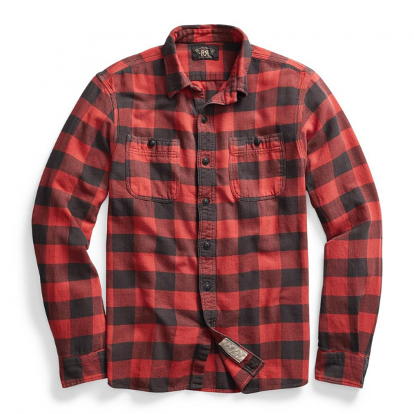 RRL by Ralph Lauren Farrell Workshirt Twill Plaid L/S Red / Black