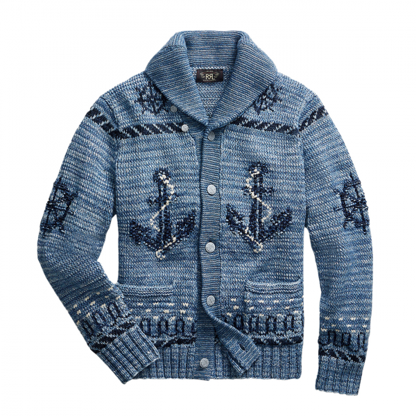 RRL by Ralph Lauren Hand Knit Shawl Cardigan Blue Indigo